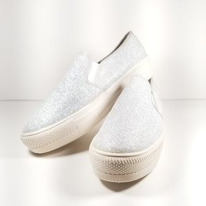 Glitter / Silver White Platform Chunky Sneakers